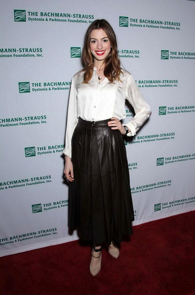 All sizes | Anne Hathaway white blouse & leather skirt | Flickr ...