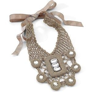 crochet+necklace | Mixit® Necklace, Crocheted Fabric Tan