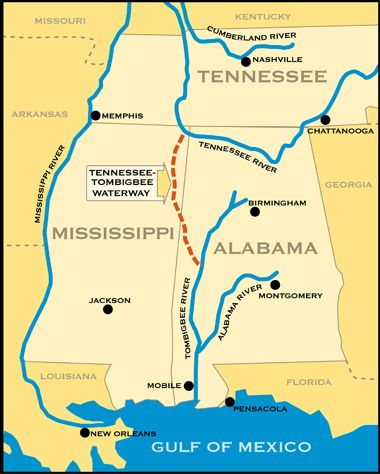 Tombigbee Waterway Map Vicinity Map for the Tennessee Tombigbee Waterway | Sailing La