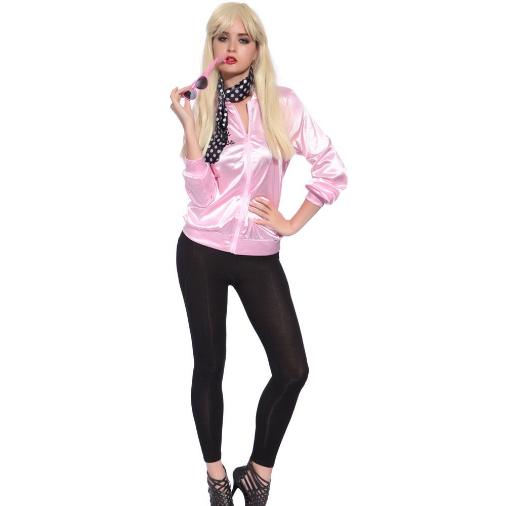 2ddba8779a2 Retro 1950s Grease Pink Ladies Lady Jacket Costume Hen Night Fancy Dress in  Clothing