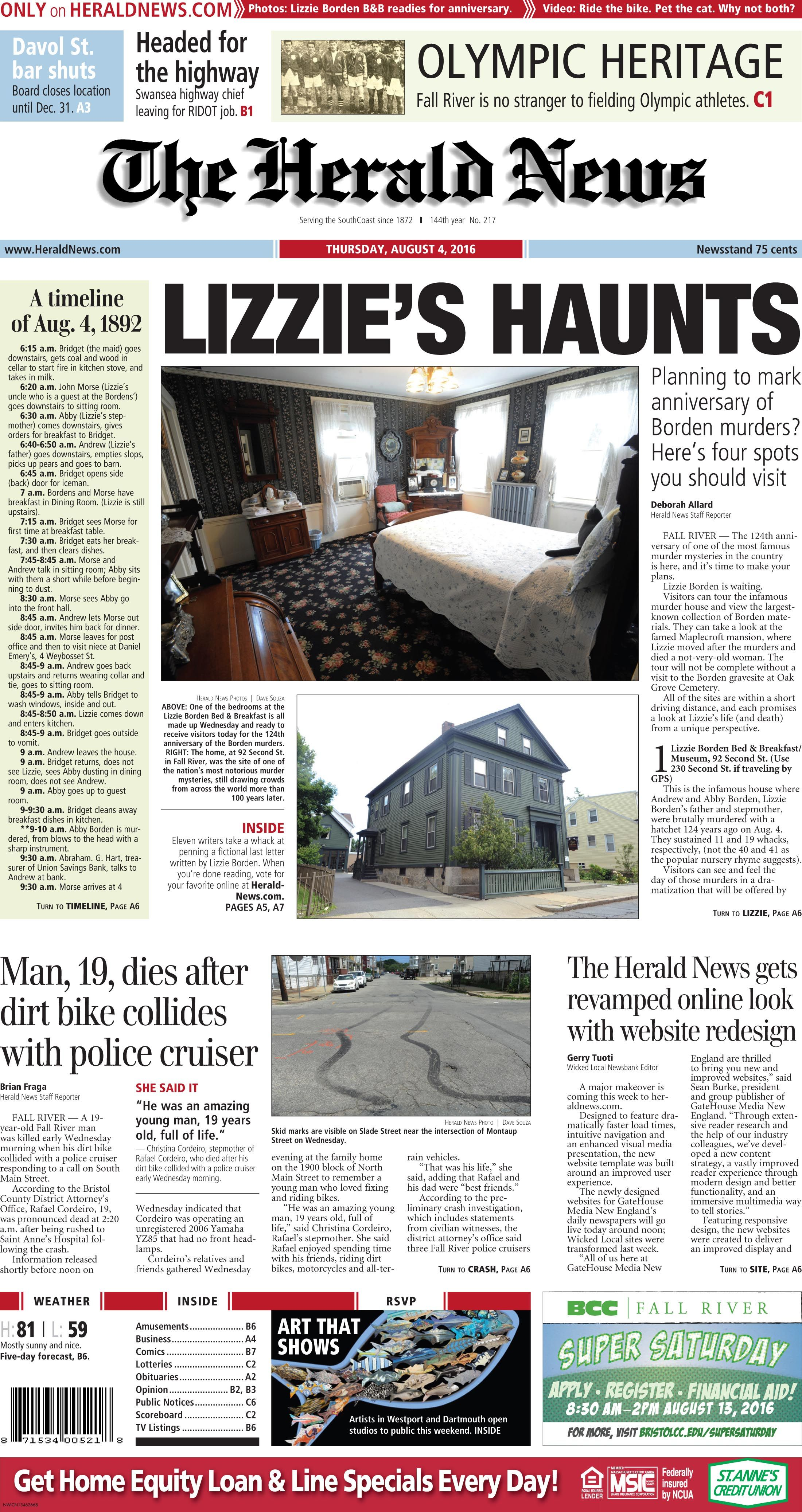 The Front Page Of The Herald News For Thursday Aug 4 2016 Herald News Fall River Herald
