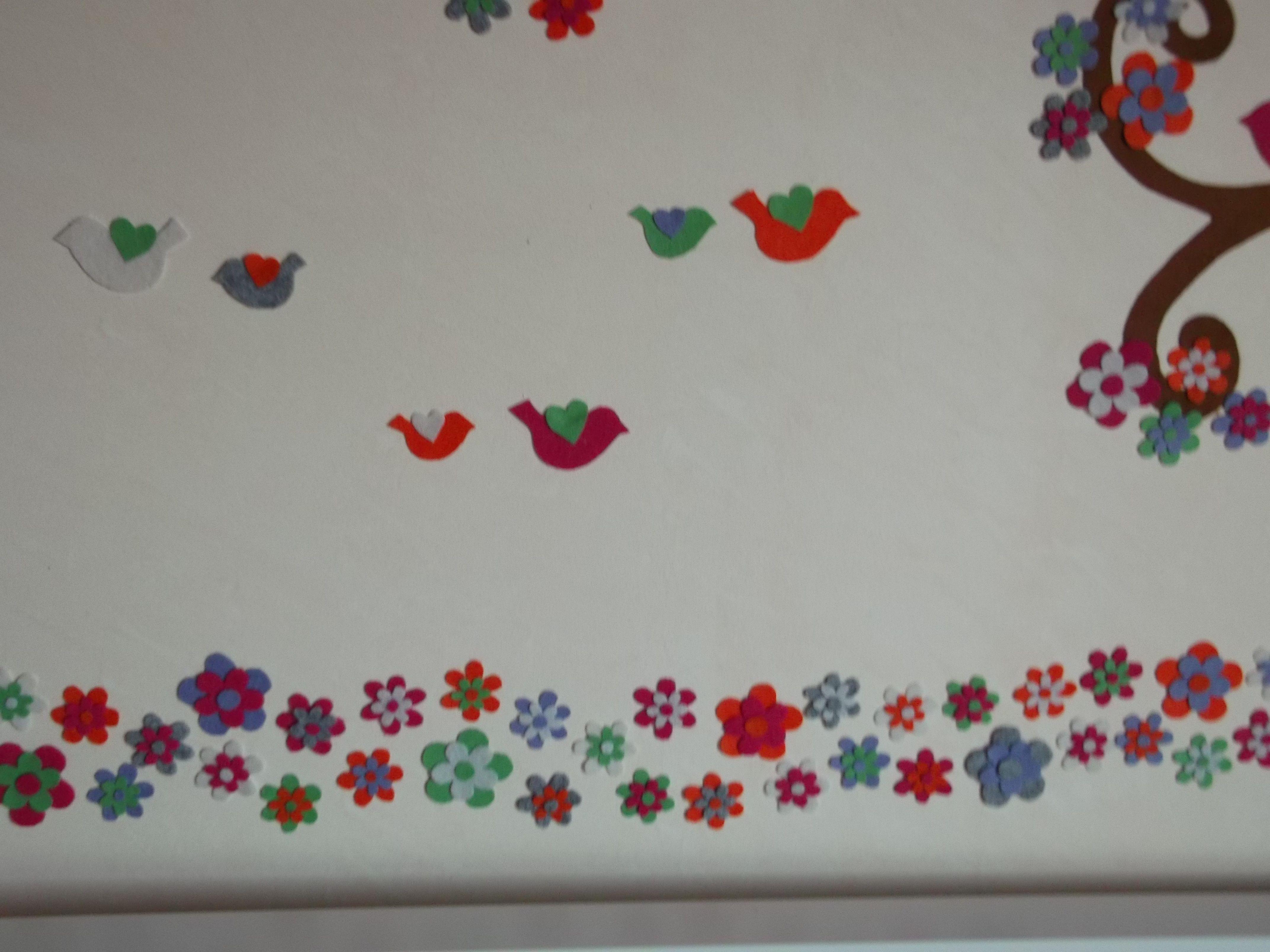 Painel em feltro para a parede do quarto da minha filha