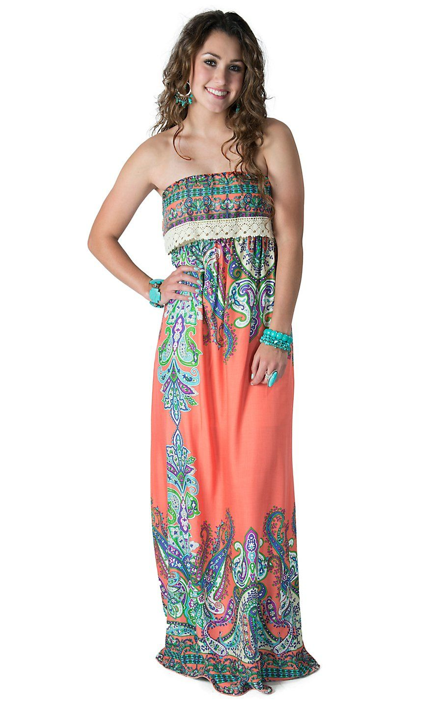 6cdbd1263ca Karlie Women s Orange with Multicolor Paisley Print Sleeveless Maxi Dress