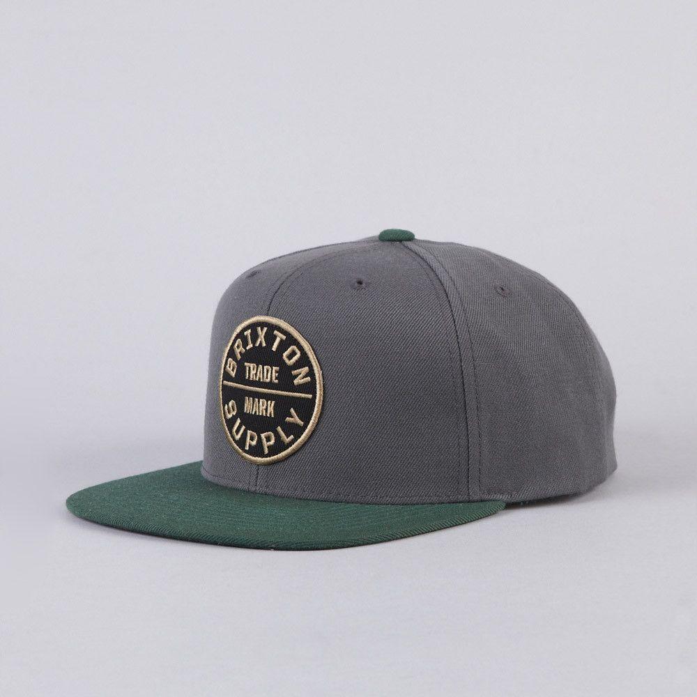 877975077dbdd Brixton Oath 3 Snapback Cap Charcoal   Hunter Flat Bill Hats