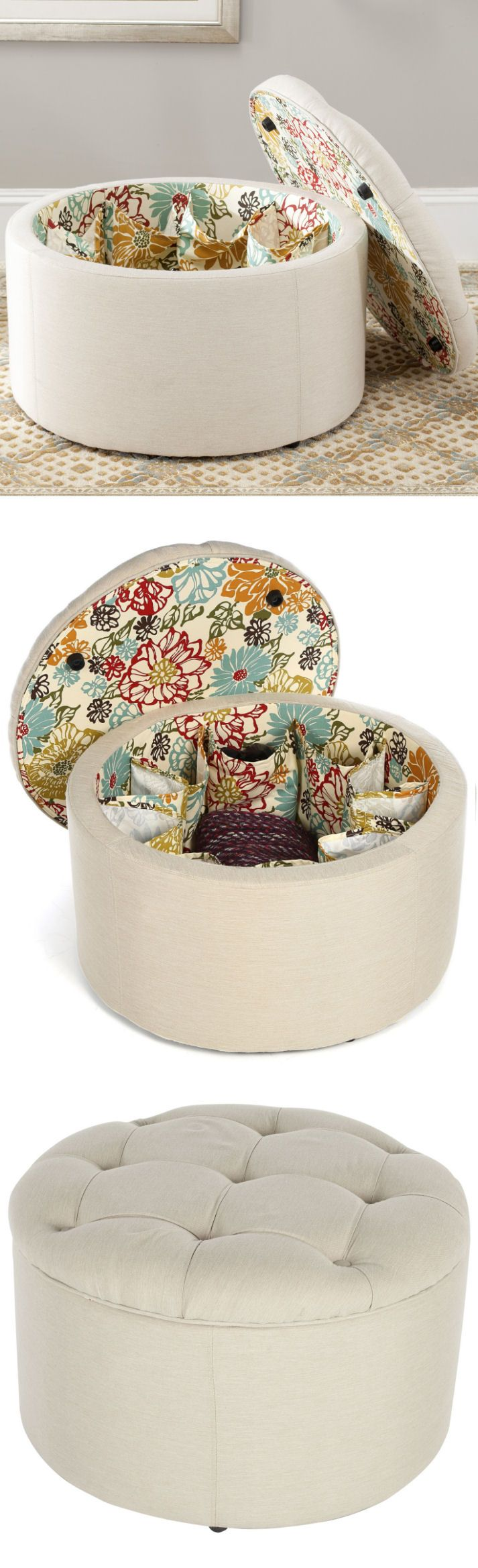 Shoe Storage Ottoman in Ivory ♥