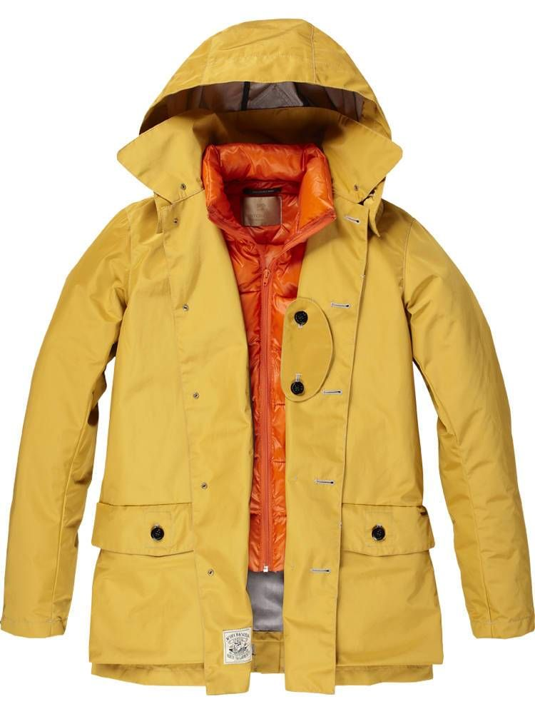 Raincoat with Inner Down Jacket - golden yellow / Scotch & Soda ...
