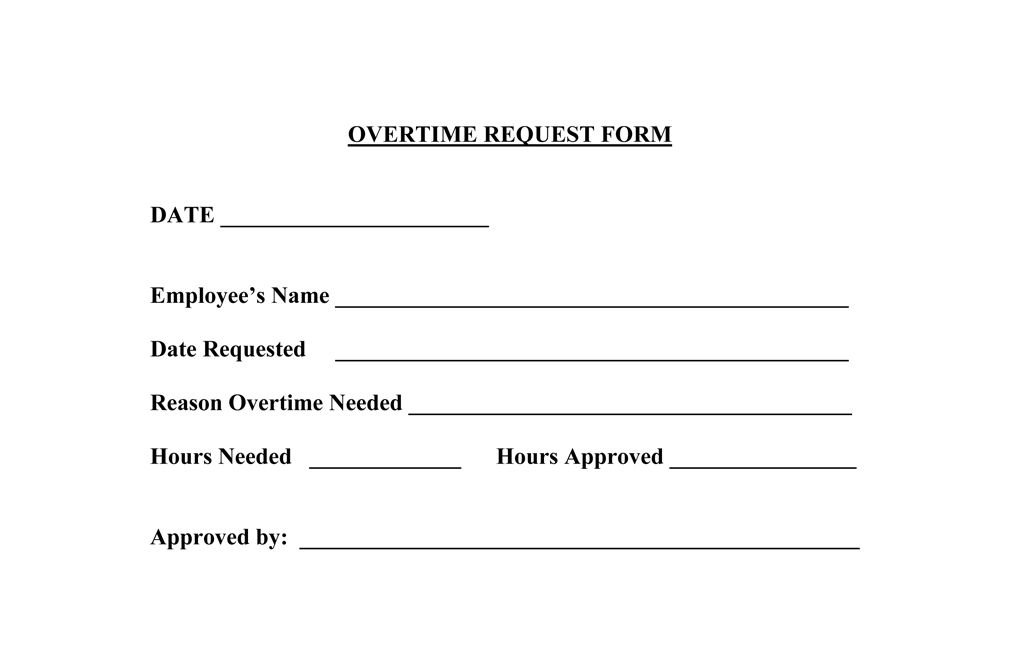 for overtime sample request form letter claim business format esi - overtime request form