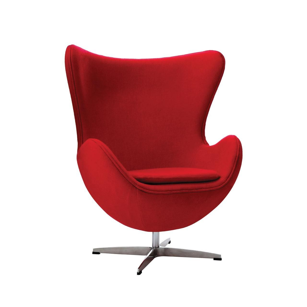 This elegant red wool effect funky chair comes with padding to