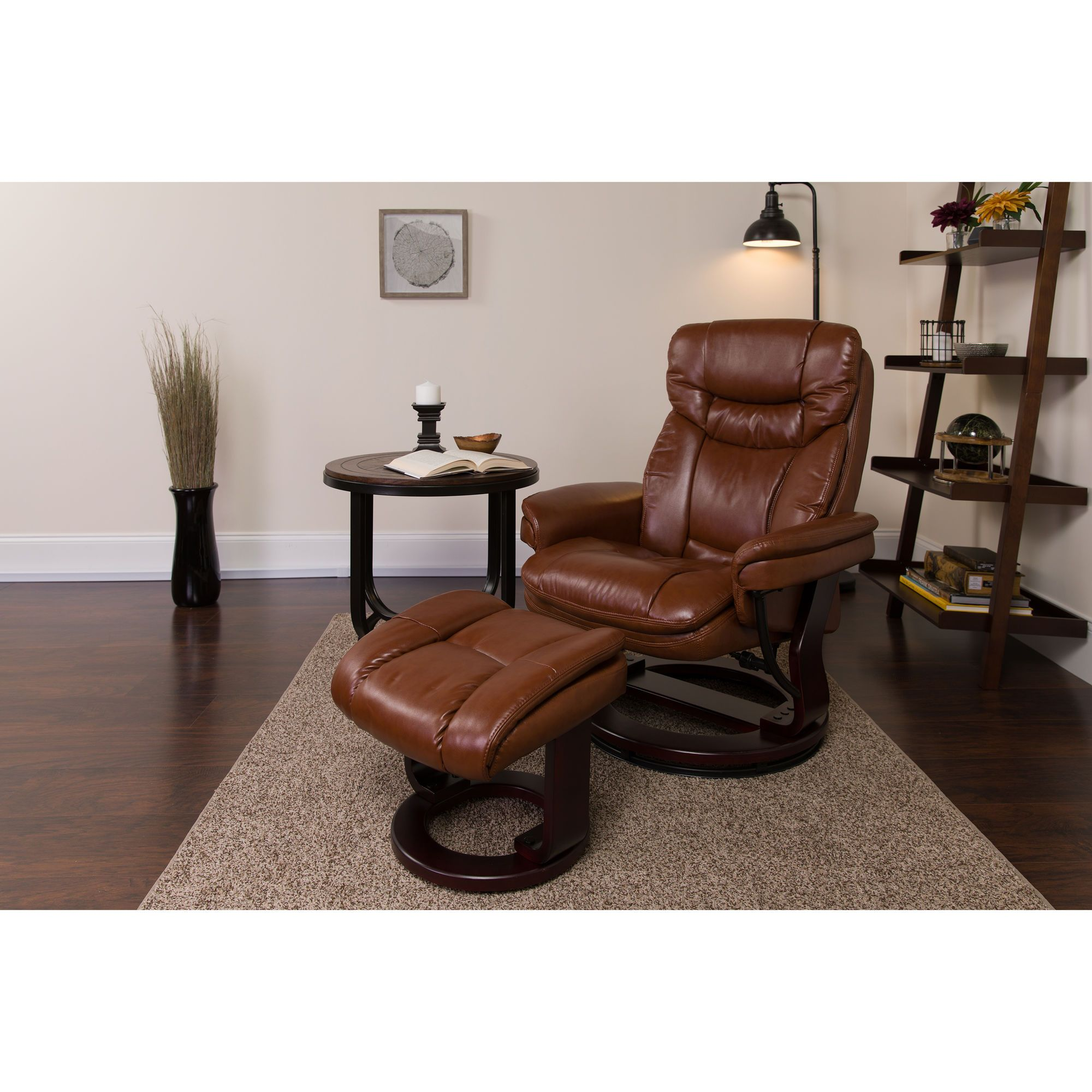 Contemporary MultiPosition Recliner and Curved Ottoman