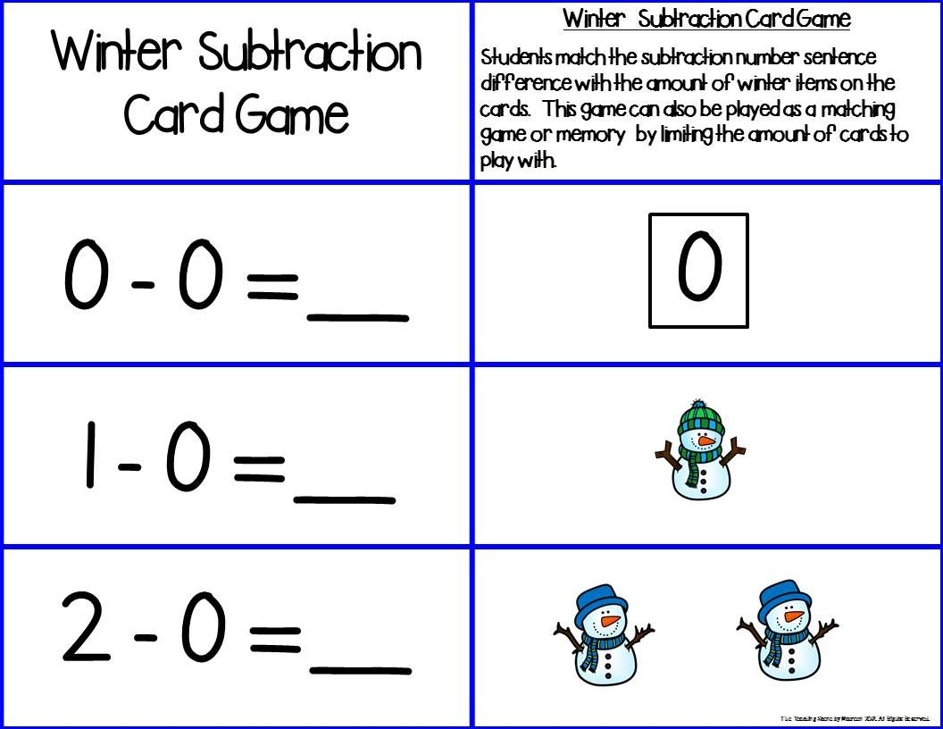 Winter Add Amp Subtract 0 10 Number Sentence Match