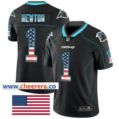 684c137ec Nike Carolina Panthers  1 Cam Newton Black Men s Stitched NFL Limited Rush  USA Flag Jersey