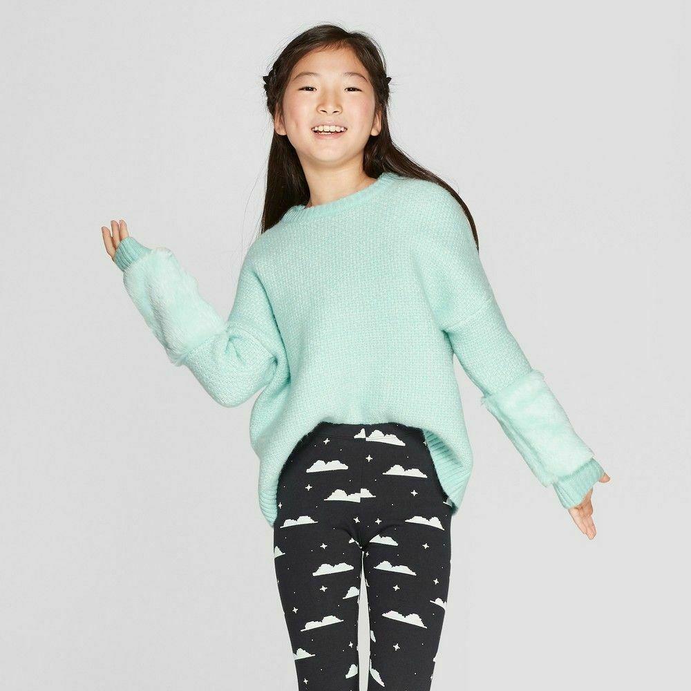 Bcbg Sweater With Faux Fur Cuffs: Girls' Faux Fur Cuff Pullover Sweater