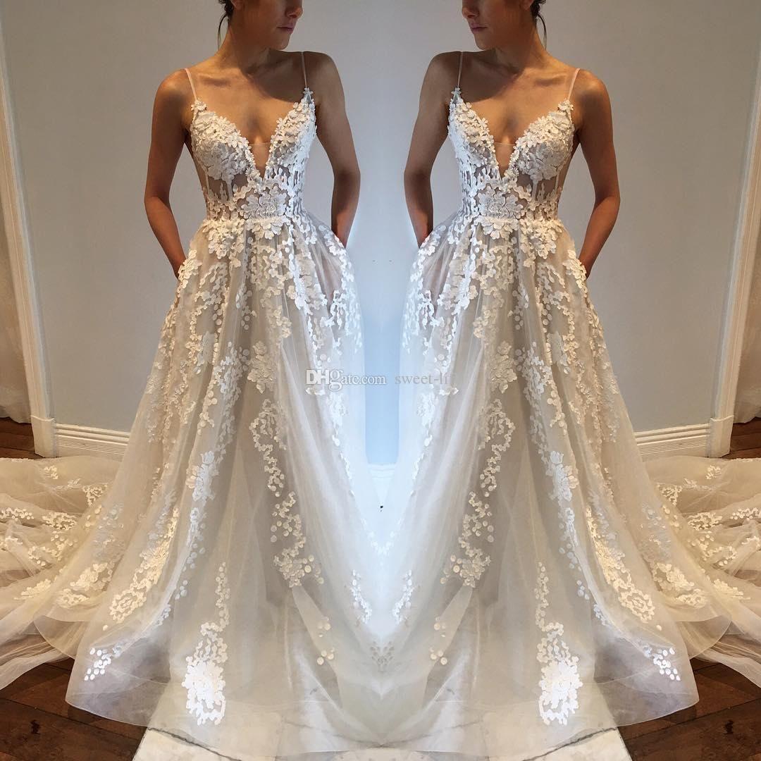 Sexy bohemia wedding dresses with pockets spaghetti straps for Spaghetti strap wedding dress with pockets