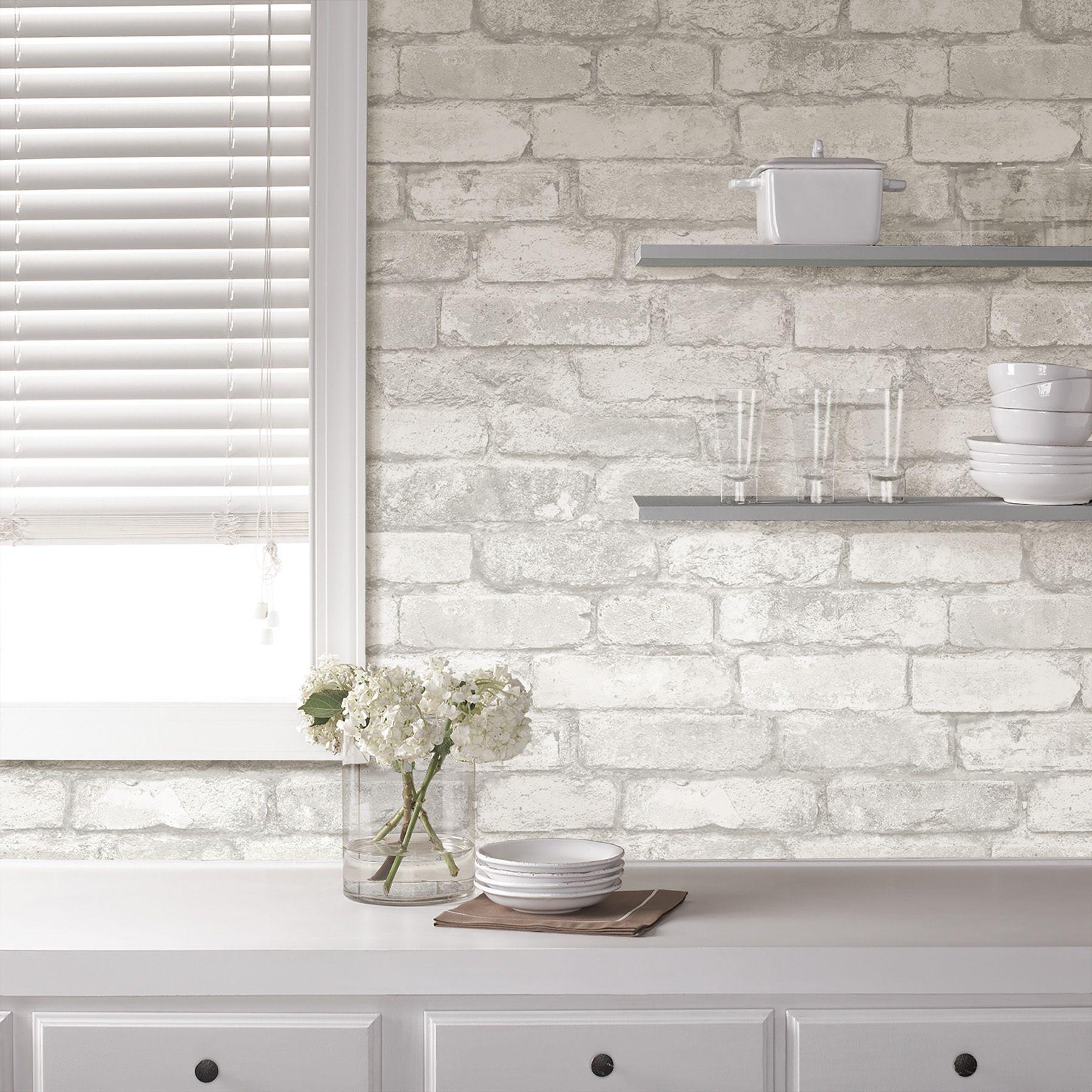 Home Improvement White brick, Kitchen wallpaper, White