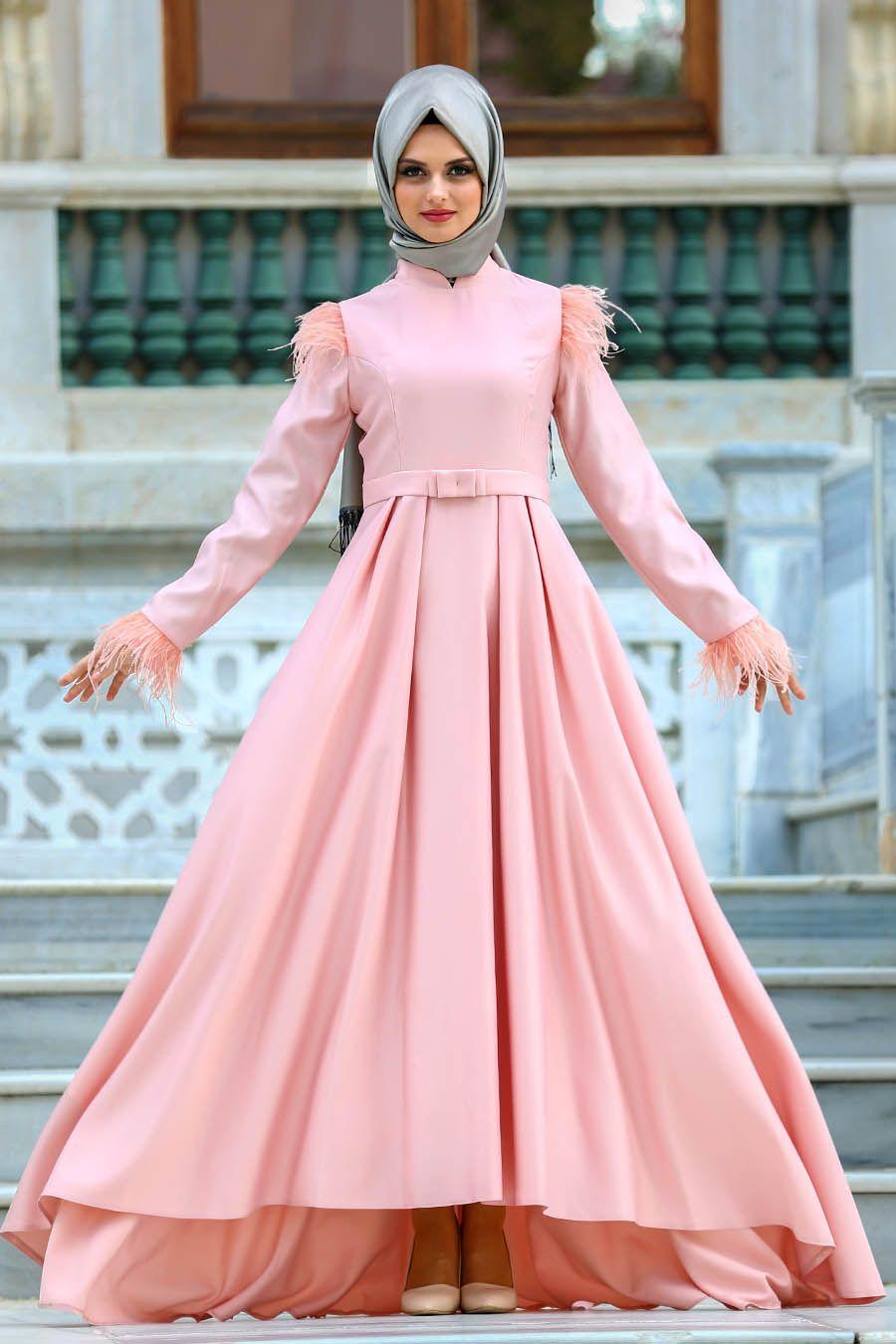2018 Yeni Sezon Abiye Koleksiyonu Puane Tuy Detayli Somon Tesettur Abiye Elbise 8181smn The Dress Elbise Elbise Modelleri