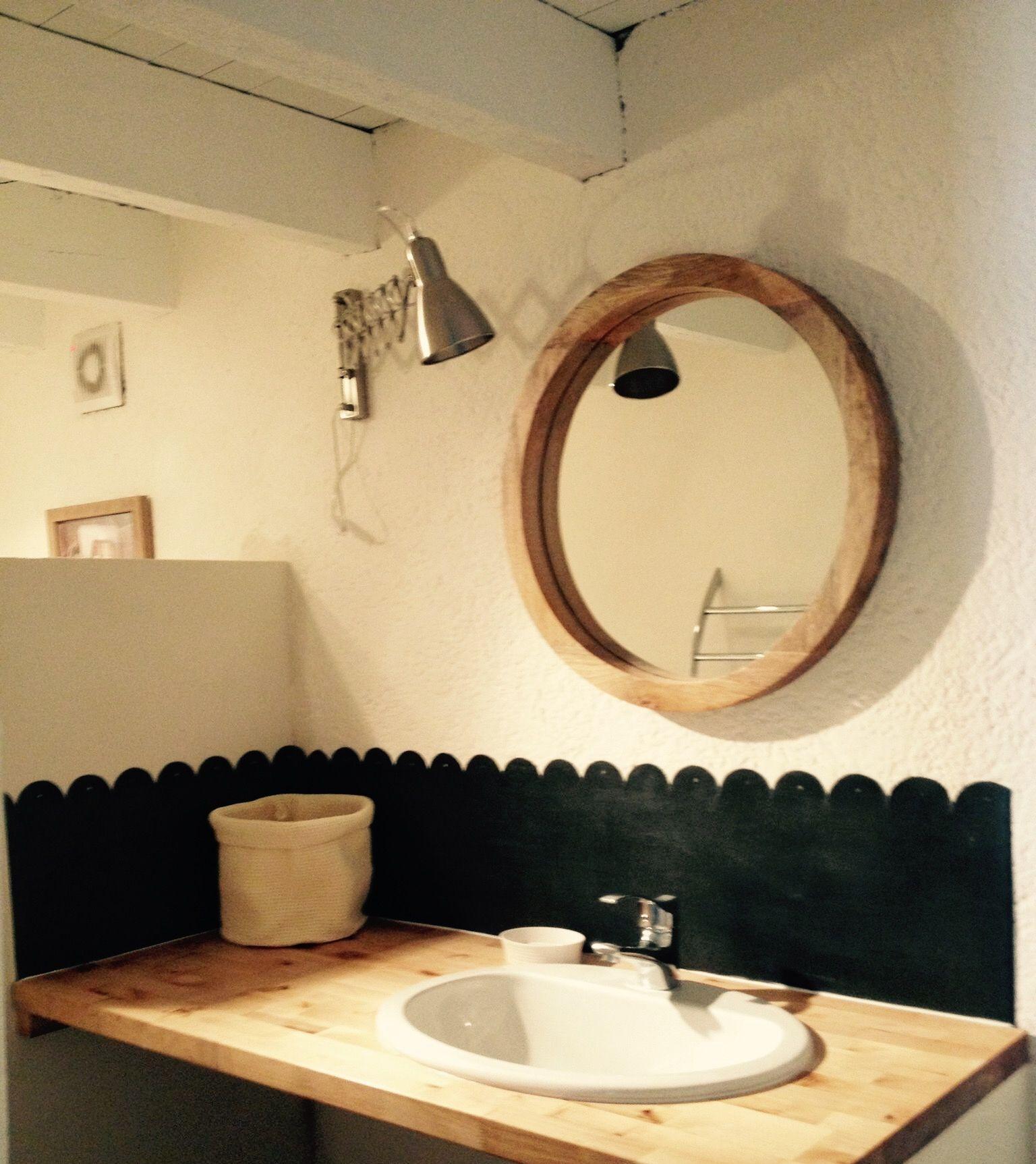 Credence festonnée salle de bain , zinc patiné. | Créations Intzn ...