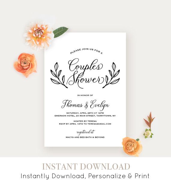 Couples Shower Invitation Template Printable Wedding Shower