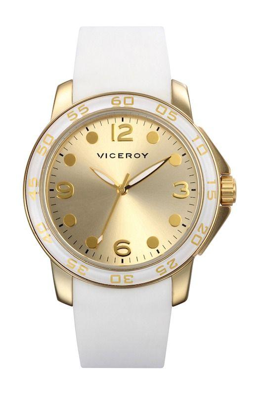 reloj  Viceroy para mujer con correa de caucho blanco y dorado ... 9d9dba362ecc