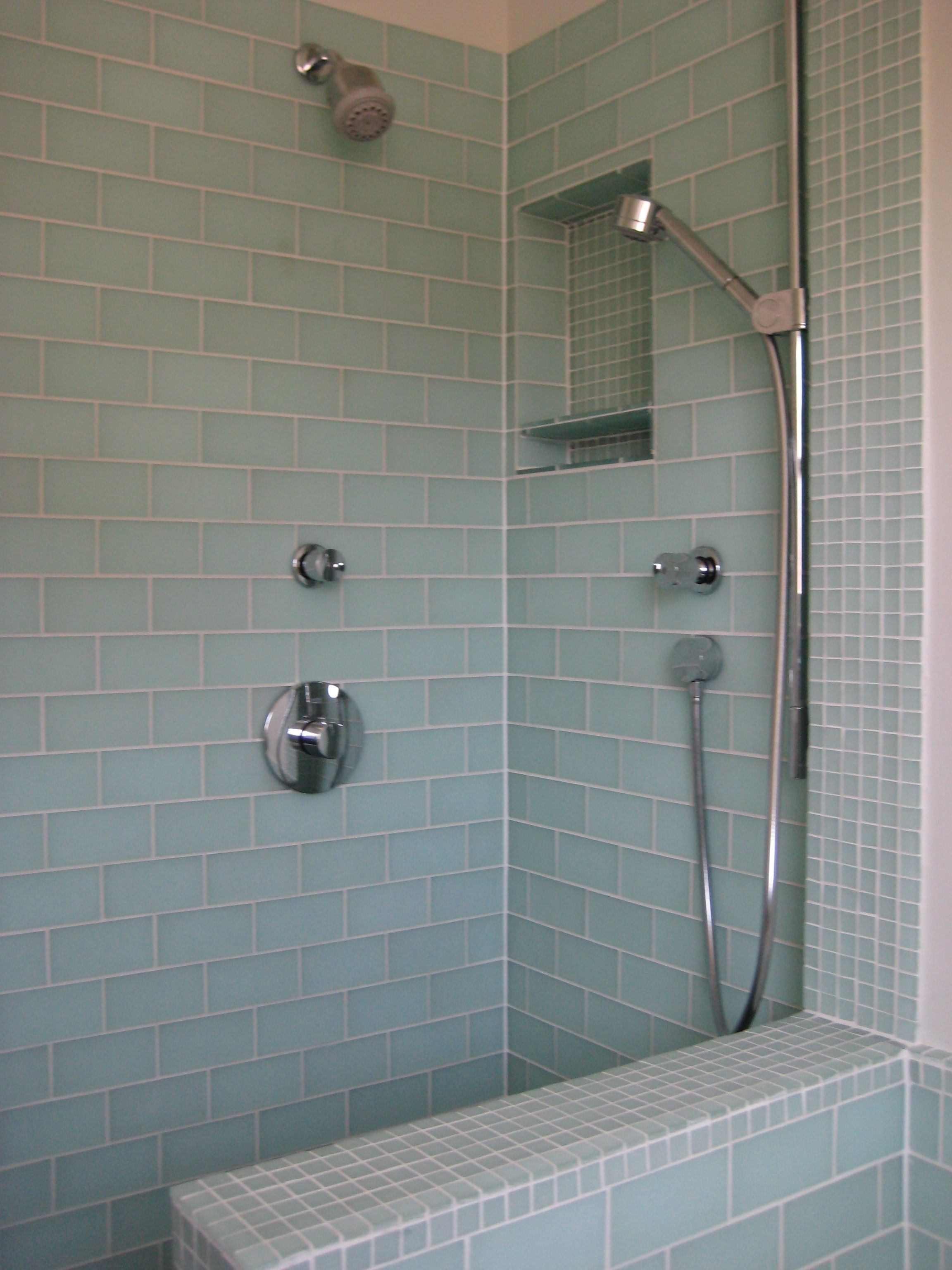 boys\' bathroom #2: light blue subway tiles for tub w mosaic accents ...