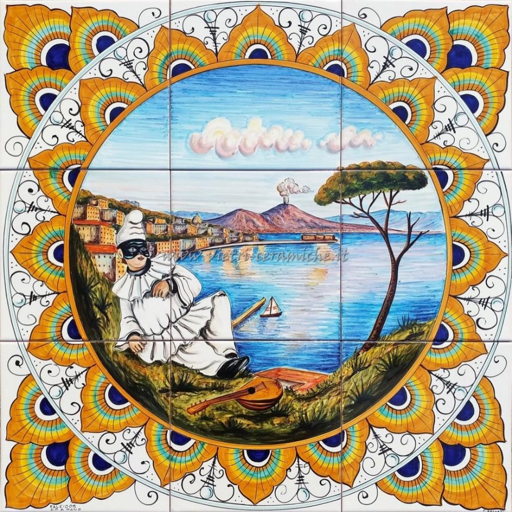 Pannello Quadrato Ceramica Veduta Napoli e Pulcinella