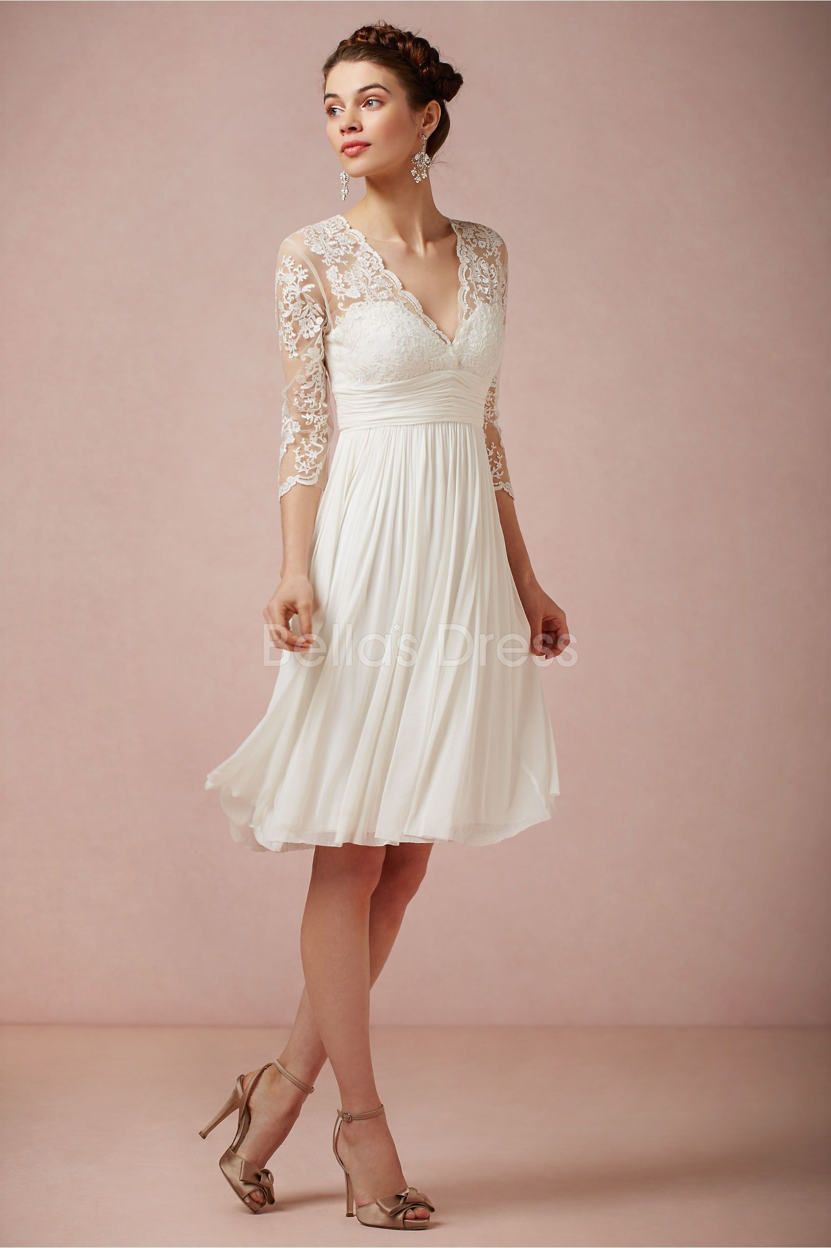 Cheap casual wedding dresses  knee length lace wedding dresses  Knee Length V Neck Sheath Column