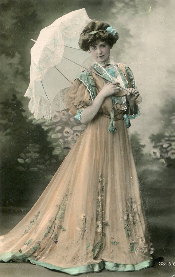 Vintage French hand tinted photo postcard - Lady wearing beautiful dress - Victorian Paper Ephemera