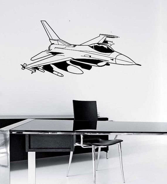 Fighter Jet Wall Decal Sticker Art Decor Bedroom Design Mural Etsy Wall Decals Wall Decal Sticker Wall Decor Stickers