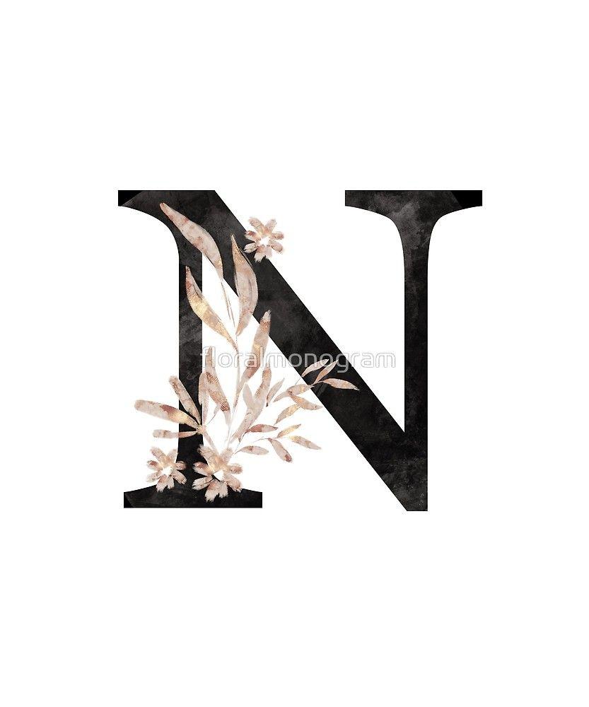Monogram N Black Gold Flowers And Foliage Sticker By Floralmonogram In 2021 Alphabet Wallpaper Gold Flowers Monogrammed N