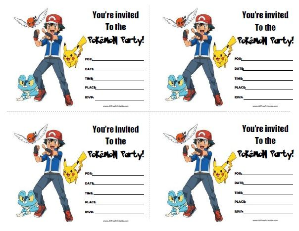 FREE Printable Pok mon Birthday Invitation Pokemon – Print out Birthday Invitations