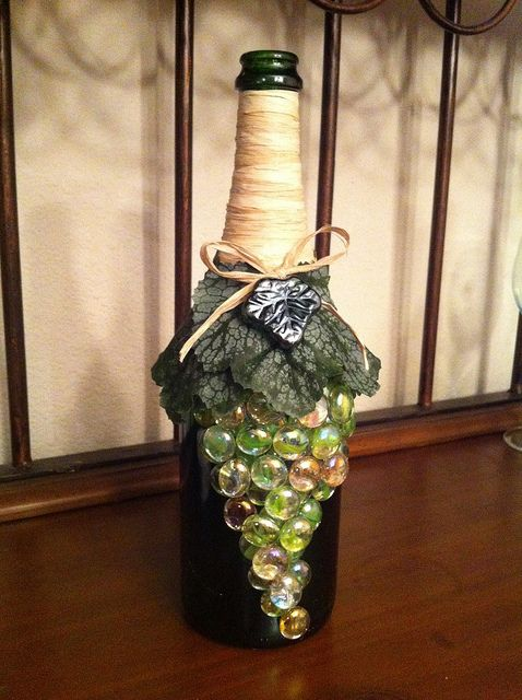 glass bottle crafts wine bottle decorated with green grapes for the home 2089