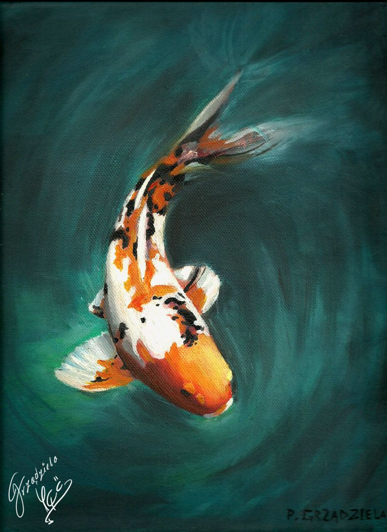 First oil painting on canvas winter 2011 maybe it 39 s not for Koi carp artwork