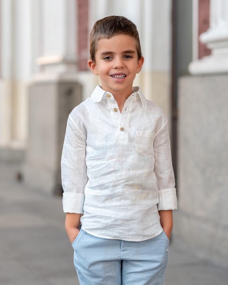 Linen Long Sleeve Boys Shirts Boys Clothes Ring Bearer Shirt Etsy Boys White Dress Shirt Toddler Dress Shirt Boy Outfits [ 993 x 794 Pixel ]