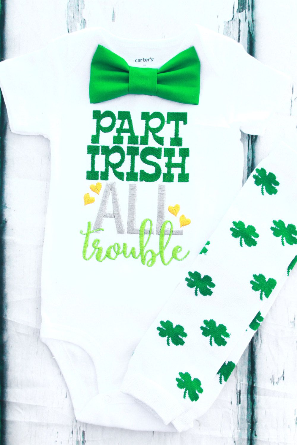 Part Irish All Trouble baby boy St. Patrick's day onesie