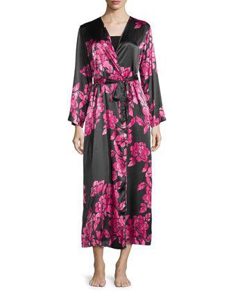 Floral-Print+Charmeuse+Wrap+Robe,+Black/Pink+by+Oscar+de+la+Renta+at+Neiman+Marcus.
