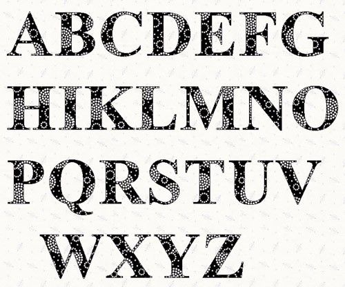 Printable Alphabet Times Roman Font Template Pattern By Lintin