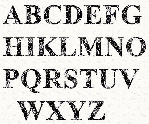Printable Alphabet Times Roman Font Template Pattern By Lintin