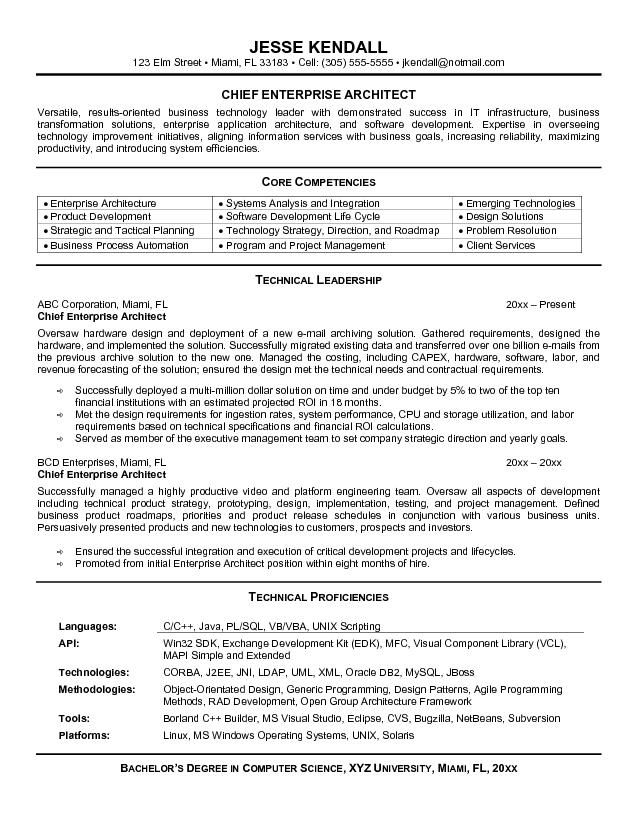 Architect Resume Samples Sample Of Enterprise Architect Resume  Httpjobresumesample