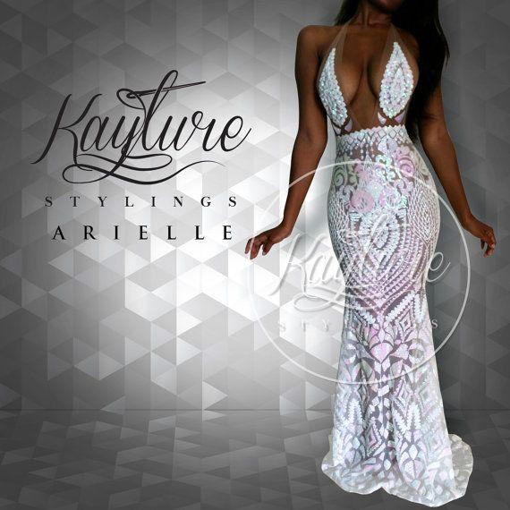 Custom ARIELLE prom pageant mermaid sequin white by ISLANDPRYNCESS
