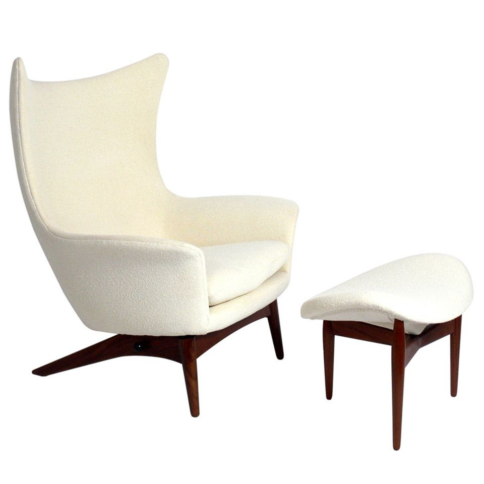 Antique lounge chairs - Sculptural Danish Modern Lounge Chair And Ottoman By H W Klein From A Unique Collection Of