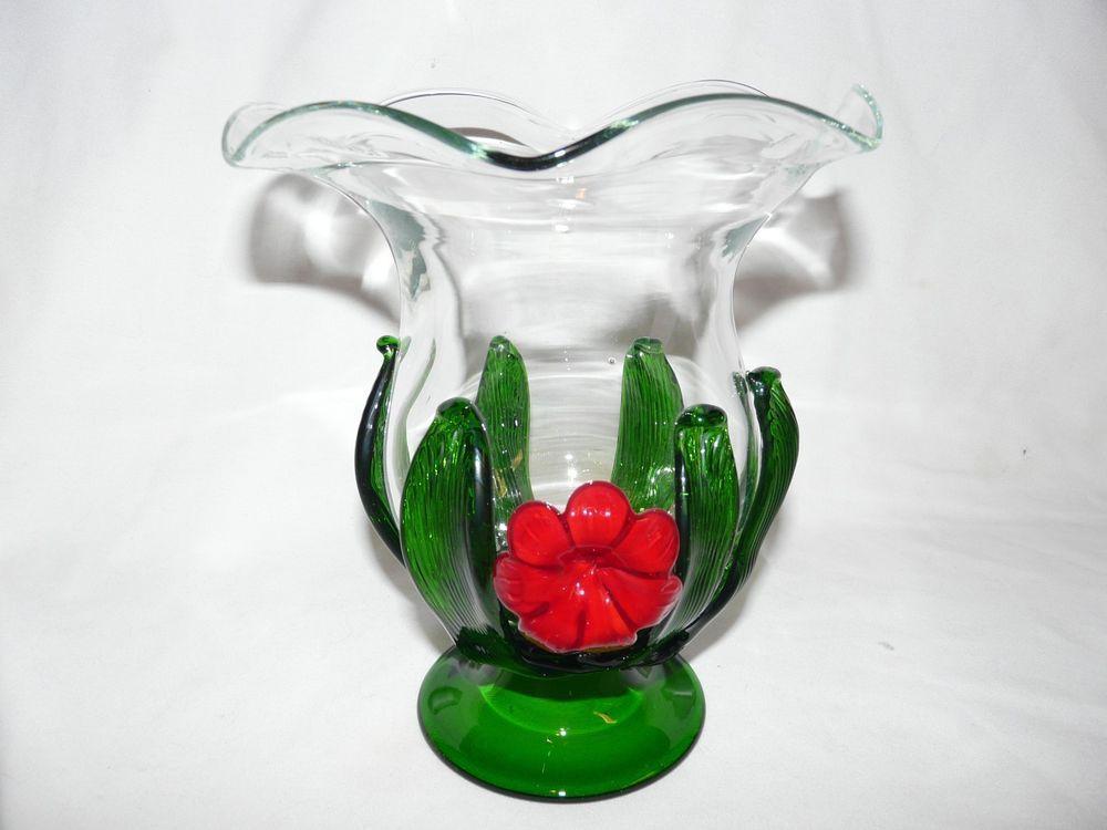 Large Vintage Glass Art Vase With Applied Poppy And Leaves With Images Glass Art Vase Glass