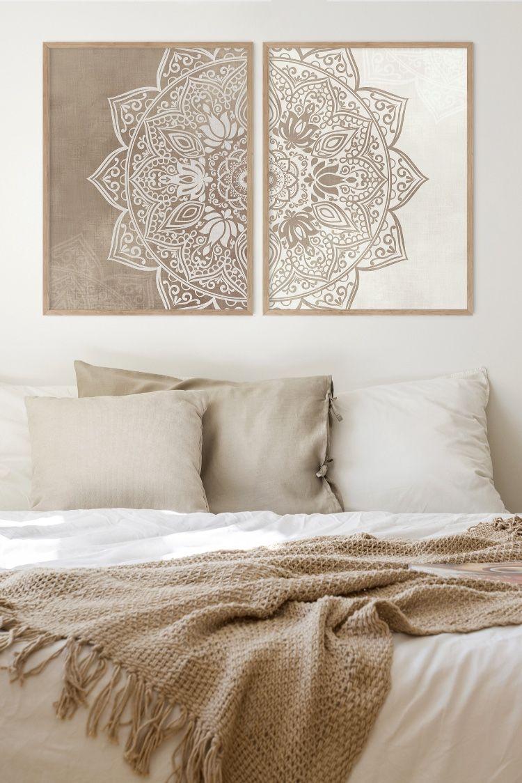 Original Beige Taupe Mandala Wall Art Set Of 2 Printable Art Boho Wall Decor Neutral Color Living Room Bedroom Digital Download Art In 2020 Yoga Room Decor Decor Meditation Decor