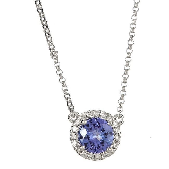 Anika and August 14k White Gold Round-cut Tanzanite 1/6ct TDW Diamond Necklace