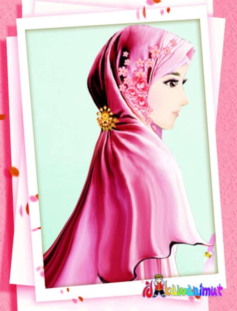 Kartun Gambar Muslimah Cantik Berhijab Merah Kartun Gambar Gadis Animasi