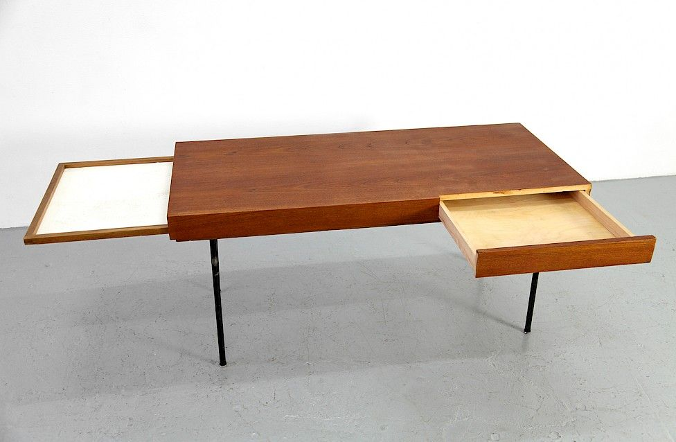 Wonderful Mid Century Modern Teak Coffee / Couchtisch Table Model 4652 By George  Nelson For Herman Miller_1