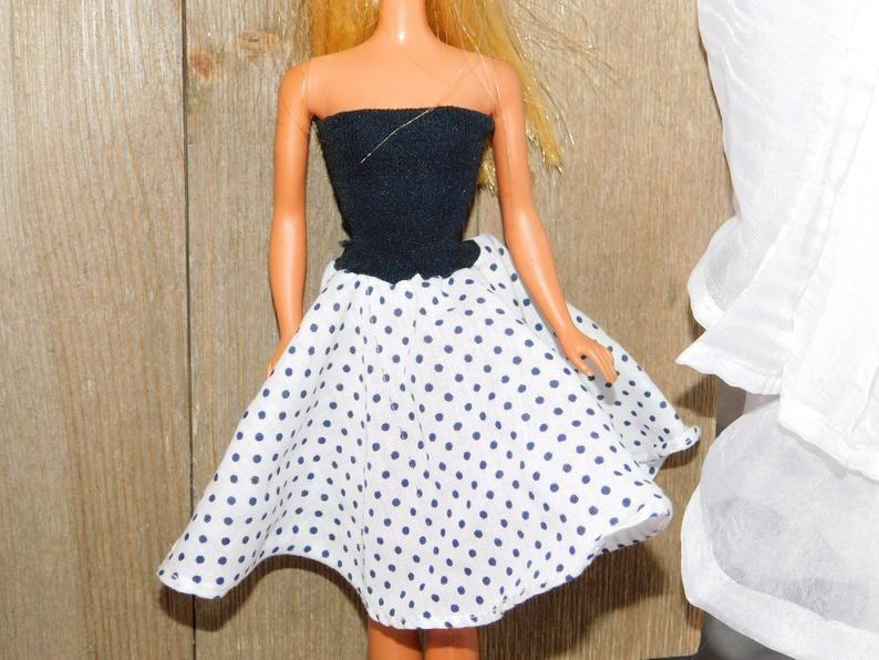 Barbie Black White Poka Dot Dress Vintage Barbie Dress Etsy Vintage Doll Dress Poka Dot Dress Vintage Barbie Dress