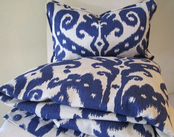 IKAT Duvet Cover Decorative Throw Pillow - IKAT Marrakesh Batik Indigo - King or Queen Bedroom ...
