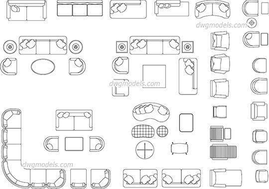 Living Room Furniture Dwg Cad File Download Free
