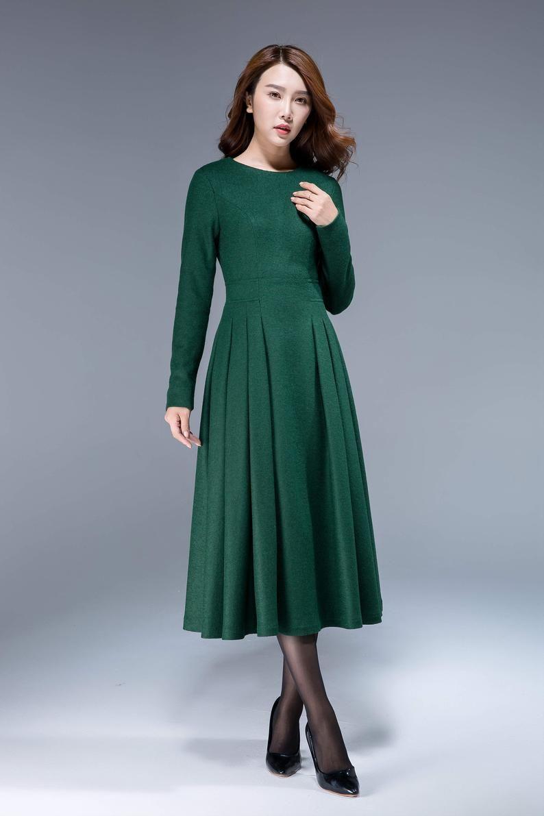 Langes schwarzes Kleid, Wollkleid, Winterkleid, lange ...