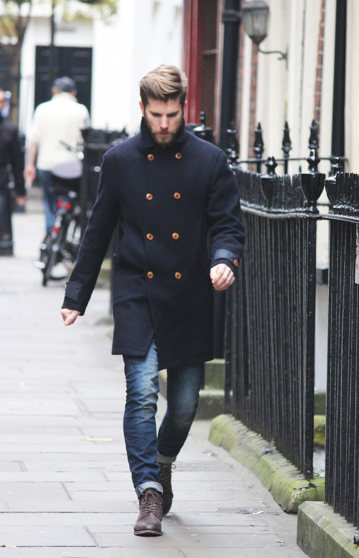 Men\'s Black Overcoat, Blue Jeans, Dark Brown Leather Casual Boots ...