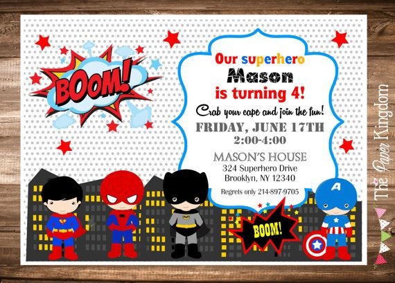 image regarding Printable Superhero Invitations named Superhero Invitation - Tremendous Hero Birthday Bash, PRINTABLE